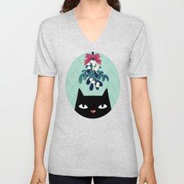 Mistletoe? (Black Cat) Unisex V-Neck
