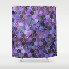 Purple geometric hexagonal elegant & luxury pattern Shower Curtain