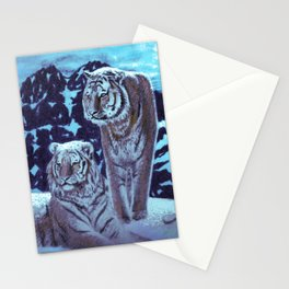 Two bengal tigers in a snowed mountain Stationery Cards