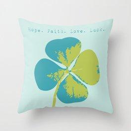 Blue Clover Throw Pillow