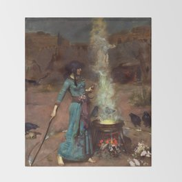 The Magic Circle John William Waterhouse Painting Throw Blanket