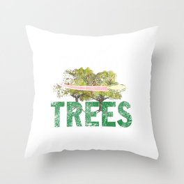 Splittin' Trees Funny Distressed Disc Golf Throw Pillow