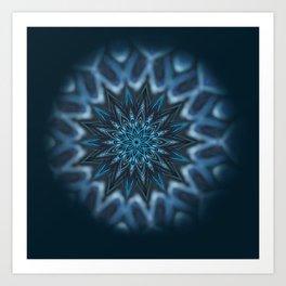 Blue Ice Swirl mandala Art Print