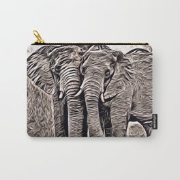 Rustic Style - Elephants Carry-All Pouch