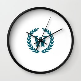 Dark Teal Monogram: Letter W Wall Clock