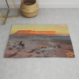 Dowa Yalanne Mesa (Thunder Mountain) Zuni Pueblo, New Mexico by William R. Leigh Rug