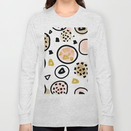 Mid Century Modern Abstract Blush and Gold Pattern III Long Sleeve T-shirt