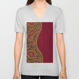 Arabian Nights in Red and Gold Unisex V-Neck