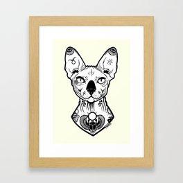 Sphynx Tattooed Framed Art Print