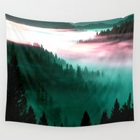 mountains Wall Tapestries featuring Misty Mountains Morning : Magenta Mauve Teal by 2sweet4words Designs