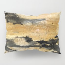 Black and Gold Brush Stroke Abstract Pillow Sham