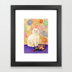 Sushi Cat In love Framed Art Print