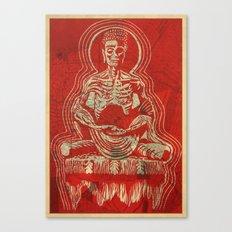 Zombuddha Red Linocut Canvas Print