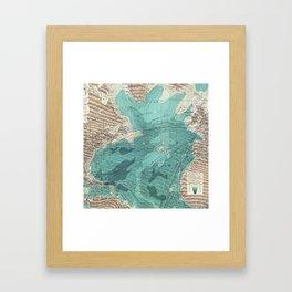 Vintage Green Transatlantic Mapping Framed Art Print