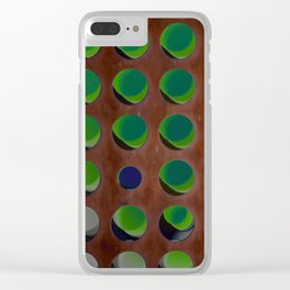 Abstract array of dots in rusty red and green with one blue dot standing out from the crowd Clear iPhone Case