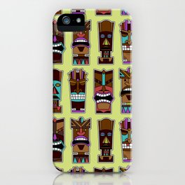 Colorful Tiki Mask Pattern iPhone Case