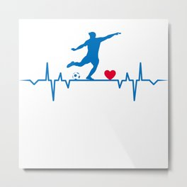 Soccer Player Football Player Heartbeat  Love Gift T-Shirt Metal Print