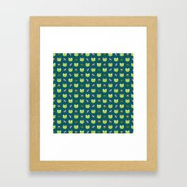 Frogs, Dragonflies and Lilypads on Teal Framed Art Print