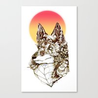kitsune Canvas Prints featuring Kitsune by South Spire Seven