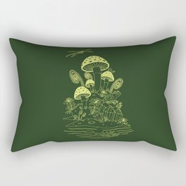 Mushroom, Frogs and Crystals with Dragofly Rectangular Pillow