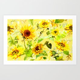 Watercolor Sunflower 4 Art Print