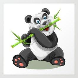 Happy panda bear eating bamboo Art Print