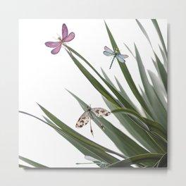 Cactus Dragonflies Tropical Art Print Metal Print