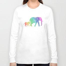 Rainbow Zentangle Elephant Long Sleeve T-shirt
