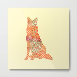Belgian Shepherd Dog Vintage Floral Pattern Orange Cream Shabby Chic Metal Print