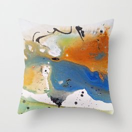 Blue And Orange Fluid Throw Pillow