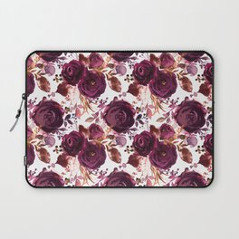 Burgundy pink white watercolor hand painted floral Laptop Sleeve