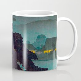 Vintage Japanese Woodblock Print Raining Landscape Tree On Rock Leaning Into The Lake Comforting Nig Coffee Mug