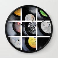 vinyl Wall Clocks featuring Vinyl by Kitsmumma