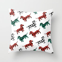 Christmas Dachshunds Red Flannel Throw Pillow