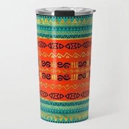 Ethnic Tribal Pattern Gold Orange and Teal Travel Mug