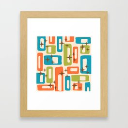 Retro Mid Century Modern Abstract Pattern 921 Orange Chartreuse Turquoise Framed Art Print