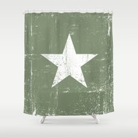 army Shower Curtains featuring ARMY by mauromod