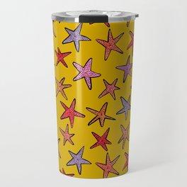 Starfishes in mustard background Travel Mug