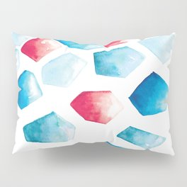 Watercolor Crystals | Blue and Red Pillow Sham
