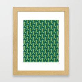 Green Village Pattern Framed Art Print