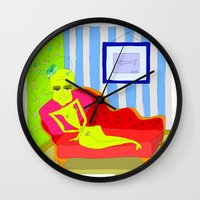 """matisse Wall Clocks featuring """"Stealing Matisse"""" (Picasso Watching) by correia creative"""