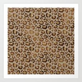 Brown Glitter Leopard Print Pattern Art Print