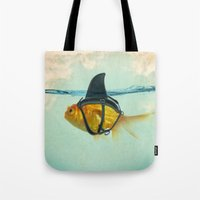 blue Tote Bags featuring Brilliant DISGUISE by Vin Zzep
