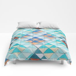 Triangle Pattern No.10 Shifting Turquoise and Orange Comforters