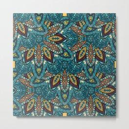Floral mandala abstract pattern design Metal Print
