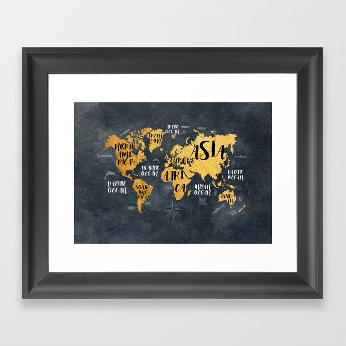 world map 133 #worldmap #map Framed Art Print by jbjart | Society6