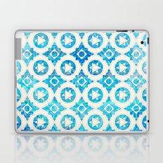 Aqua Blue & Off White Geometric Pattern Laptop & iPad Skin