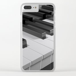 Keyboard of a black piano - 3D rendering Clear iPhone Case