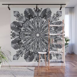 Black and White Snowflake Mandala on Clarinet Reeds Wall Mural