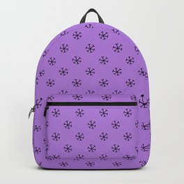 Black on Lavender Violet Snowflakes Backpack